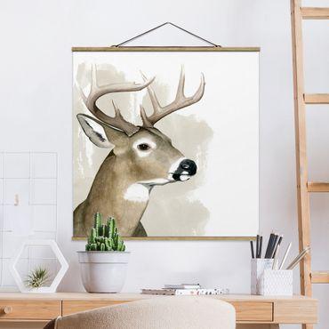 Foto su tessuto da parete con bastone - Forest Friends - Deer - Quadrato 1:1
