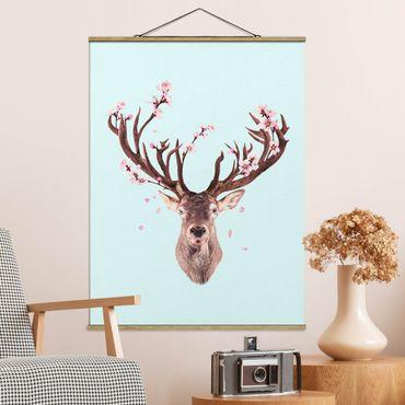 Foto su tessuto da parete con bastone - Cervo con Cherry Blossoms - Verticale 4:3