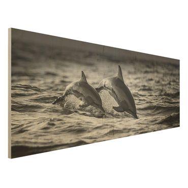 Quadro in legno - Due delfini che saltano - Panoramico