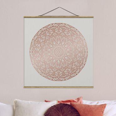Foto su tessuto da parete con bastone - Mandala Ornament In Rame Oro - Quadrato 1:1