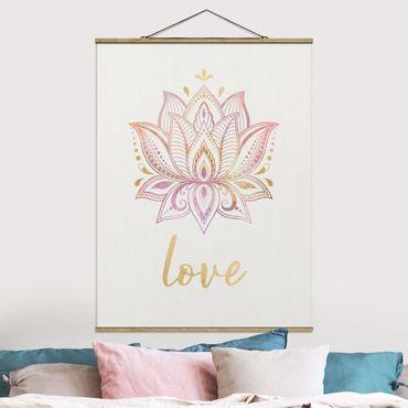 Foto su tessuto da parete con bastone - Lotus illustrazione Oro Rosa - Verticale 4:3