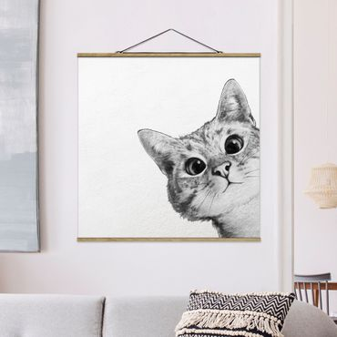 Foto su tessuto da parete con bastone - Laura Graves - Illustrazione Cat Disegno Nero Bianco - Quadrato 1:1