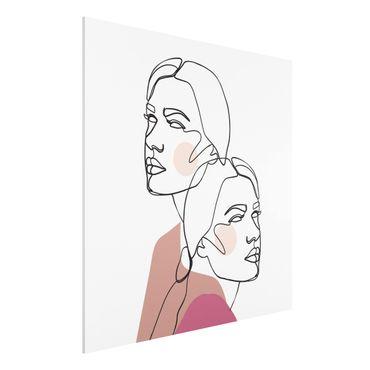 Stampa su Forex - Line Art Donne del ritratto guance rosa - Quadrato 1:1