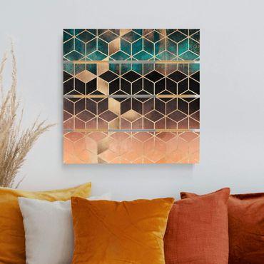 Stampa su legno - Elisabeth Fredriksson - Turchese Rosa d'Oro Geometria - Quadrato 1:1