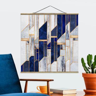 Foto su tessuto da parete con bastone - Elisabeth Fredriksson - Forme geometriche con oro - Quadrato 1:1