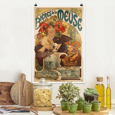 Poster - Alfons Mucha - Poster For La Meuse Beer - Verticale 3:2