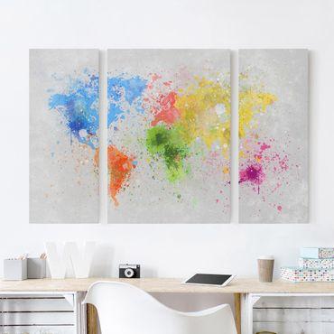 Stampa su tela 3 parti - Colorful splashes world map - Trittico