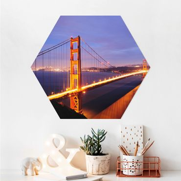 Esagono in Alu-dibond - Golden Gate Bridge di notte