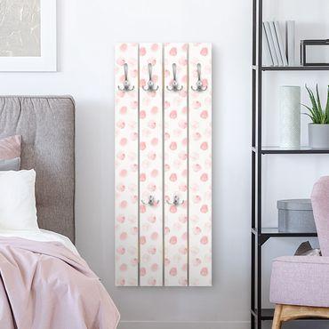 Appendiabiti in legno - Acquerello Punti Rosa - Ganci cromati - Verticale