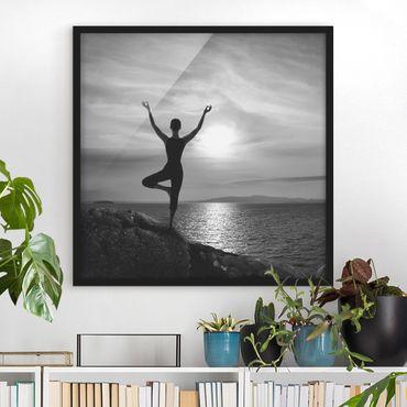 Poster con cornice - Yoga White Black - Quadrato 1:1
