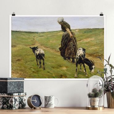 Poster - Max Liebermann - Donna Con Nanny Goats - Orizzontale 2:3