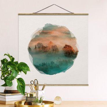 Foto su tessuto da parete con bastone - Acquarelli - Mist Ad Alba - Quadrato 1:1