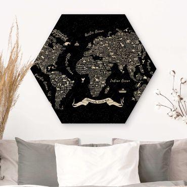 Esagono in legno - Tipografia Mappa del mondo nero