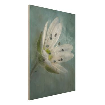 Quadro in legno - Bianco fiore su Blu - Verticale 3:4