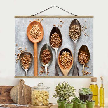 Foto su tessuto da parete con bastone - Cereal Grains Spoon - Orizzontale 3:4
