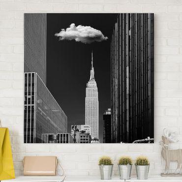 Stampa su tela - New York Con nuvola - Quadrato 1:1