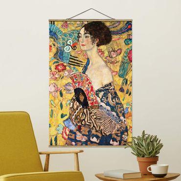 Foto su tessuto da parete con bastone - Gustav Klimt - Donna con ventaglio - Verticale 3:2