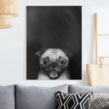 Quadri su tela - Illustrazione Pug Dog Pittura Su Bianco e Nero