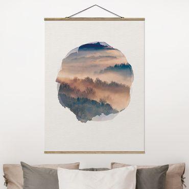 Foto su tessuto da parete con bastone - Acquerelli - Mist Al Tramonto - Verticale 4:3