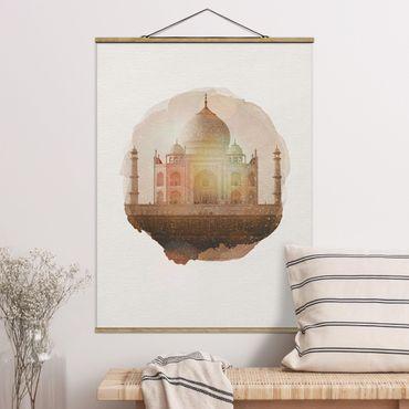 Foto su tessuto da parete con bastone - Acquarelli - Taj Mahal - Verticale 4:3