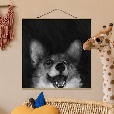 Foto su tessuto da parete con bastone - Laura Graves - Illustrazione Cane Corgi Pittura Bianco e nero - Quadrato 1:1