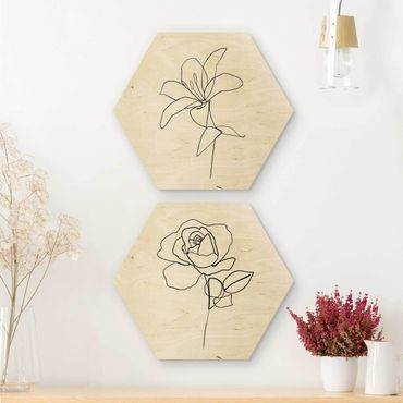 Esagono in legno - Line Art Flowers Nero Set Bianco
