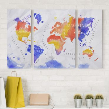 Stampa su tela 3 parti - World Map watercolor purple red yellow - Trittico