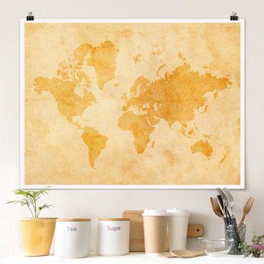 Poster - Mappa del mondo Vintage - Orizzontale 3:4