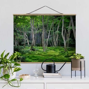 Foto su tessuto da parete con bastone - Foresta giapponese - Orizzontale 3:4