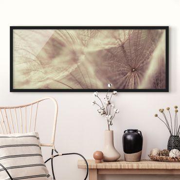 Poster con cornice - Macro Colpo Dettagliato E Tarassaco Con Effetto Sfocatura Epoca - Panorama formato orizzontale