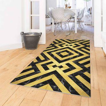Tappeti in vinile - Mix geometrico di piastrelle Art déco in marmo dorato nero - Verticale 1:2