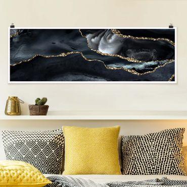 Poster - Nero con glitter oro - Panorama formato orizzontale