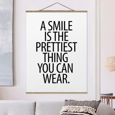Foto su tessuto da parete con bastone - Un sorriso è la più bella cosa Sans Serif - Verticale 4:3