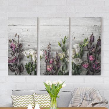 Stampa su tela 3 parti - Tulip Rose Shabby Wood Look - Verticale 2:1