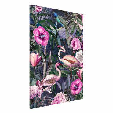 Lavagna magnetica - Colorato collage - Fenicotteri Rosa In The Jungle - Formato verticale 2:3