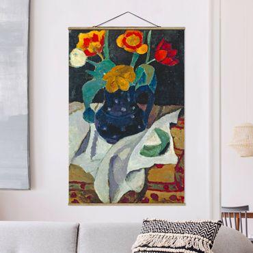 Foto su tessuto da parete con bastone - Paula Modersohn-Becker - Natura morta con tulipani - Verticale 3:2