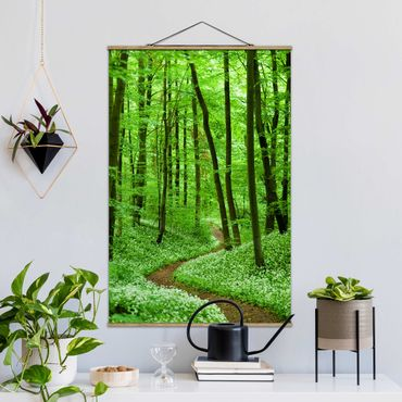 Foto su tessuto da parete con bastone - Romantico pista forestale - Verticale 3:2