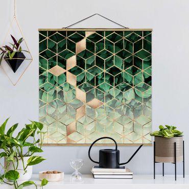 Foto su tessuto da parete con bastone - Elisabeth Fredriksson - Verde Foglie d'oro Geometria - Quadrato 1:1