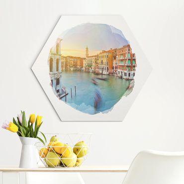 Esagono in Alu-dibond - Acquarelli - Vista Canal Grande dal Ponte di Rialto di Venezia