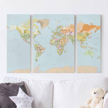 Stampa su tela 3 parti - Political World Map - Trittico