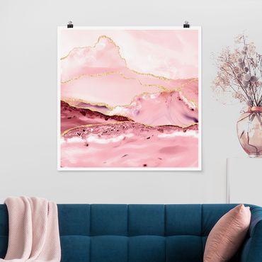 Poster - Estratto Monti rosa con Golden Lines - Quadrato 1:1
