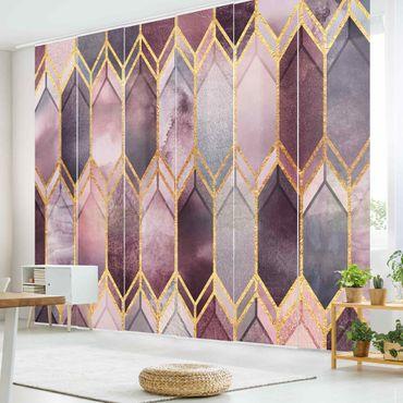 Tende scorrevoli set - Elisabeth Fredriksson - Stained Glass geometrica in oro rosa - 6 Pannelli