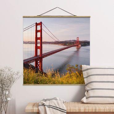 Foto su tessuto da parete con bastone - Golden Gate Bridge di San Francisco - Quadrato 1:1