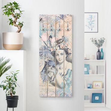 Appendiabiti in legno - Vintage Collage - bellezza esotica - Ganci cromati - Verticale