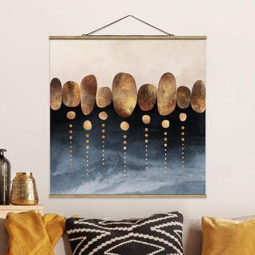 Foto su tessuto da parete con bastone - Elisabeth Fredriksson - Astratte Golden Stones - Quadrato 1:1