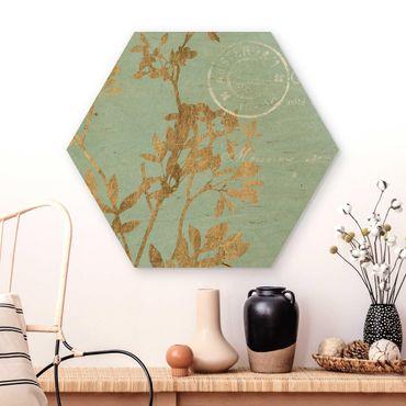 Esagono in legno - Foglie d'oro su Turquoise I
