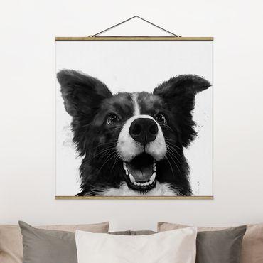 Foto su tessuto da parete con bastone - Laura Graves - Illustrazione pittura Cane Border Collie Bianco e nero - Quadrato 1:1