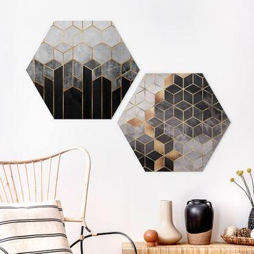 Esagono in Alu-dibond - Elisabeth Fredriksson - Oro Geometria Acquarello