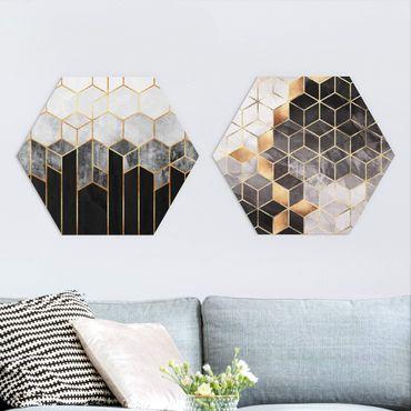 Esagono in forex - Elisabeth Fredriksson - Oro Geometria Acquarello