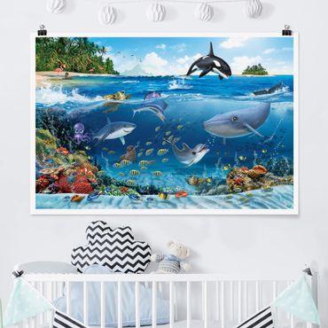 Poster - Underwater mondo con animali - Orizzontale 2:3